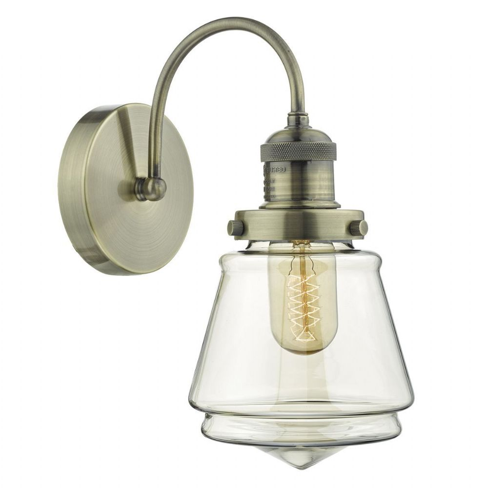 Curtis 1 Light Wall Light Antique Brass/ Champagne